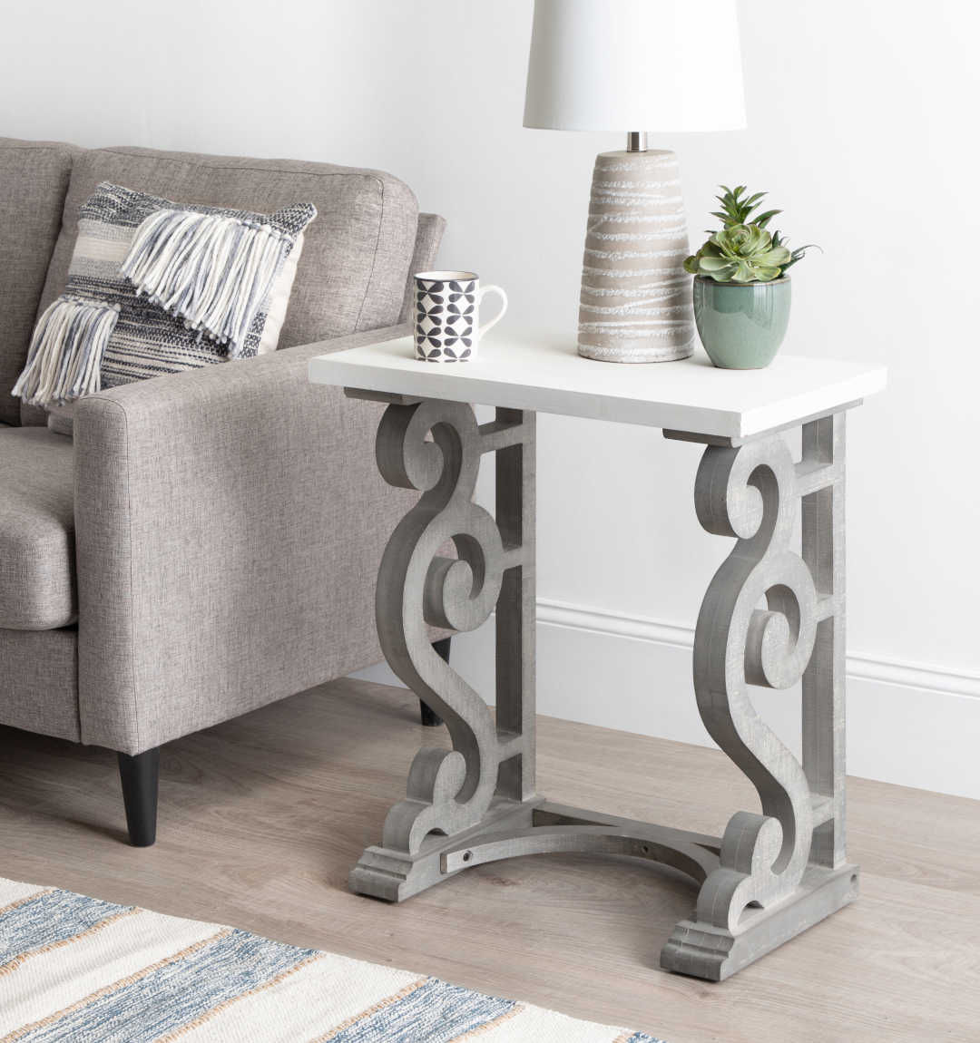 Gray end table with swirl pattern