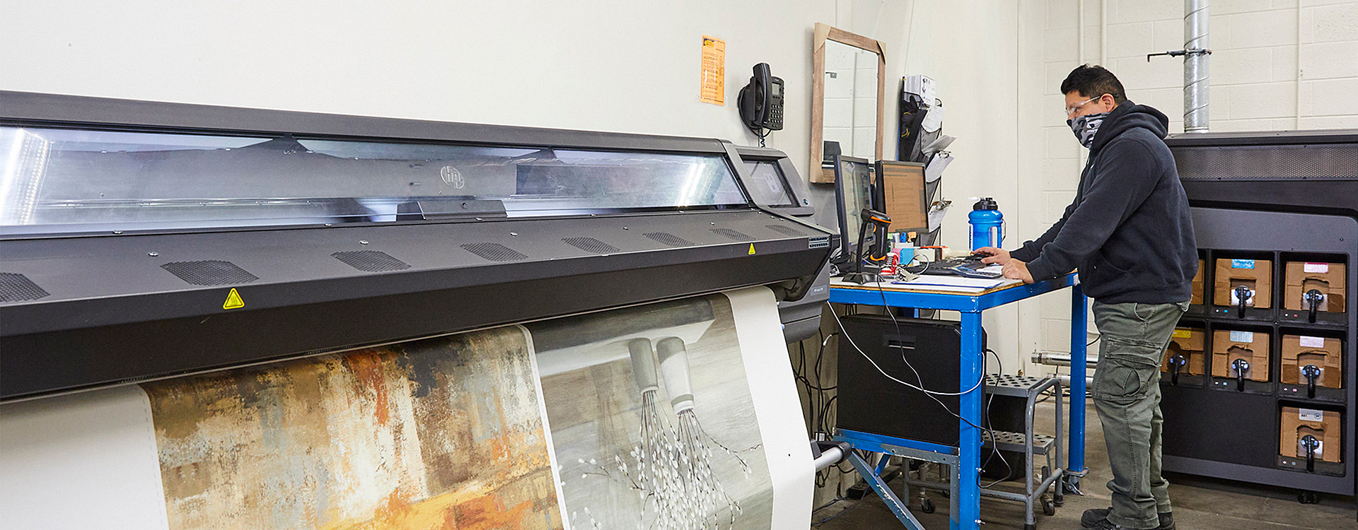 Person working on printing machine
