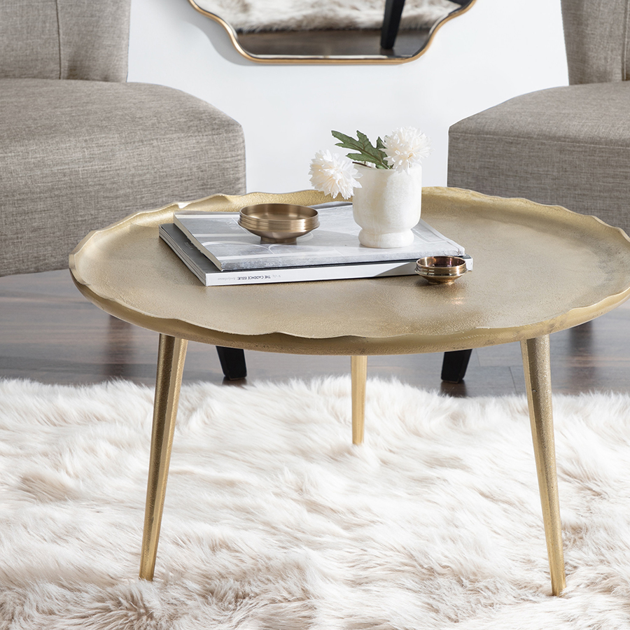 Gold colored metal table
