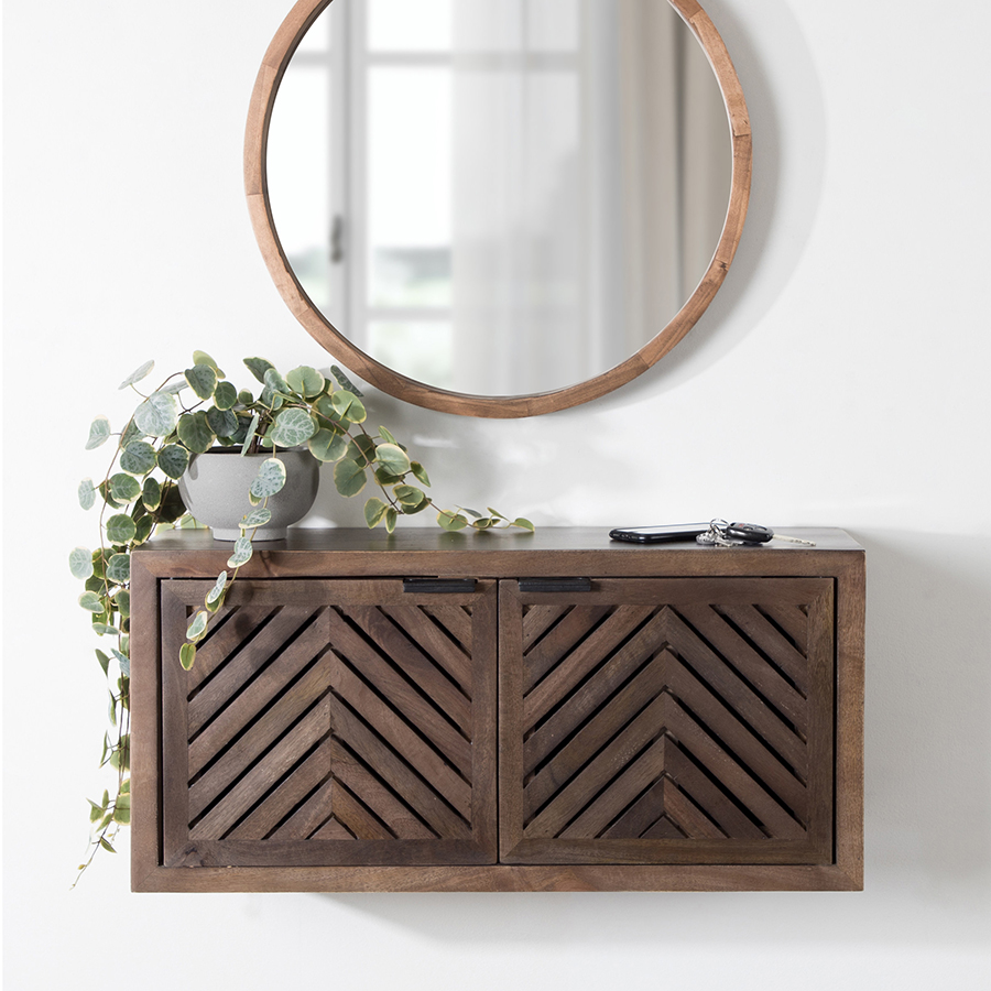 Brown storage shelf made of dark wood