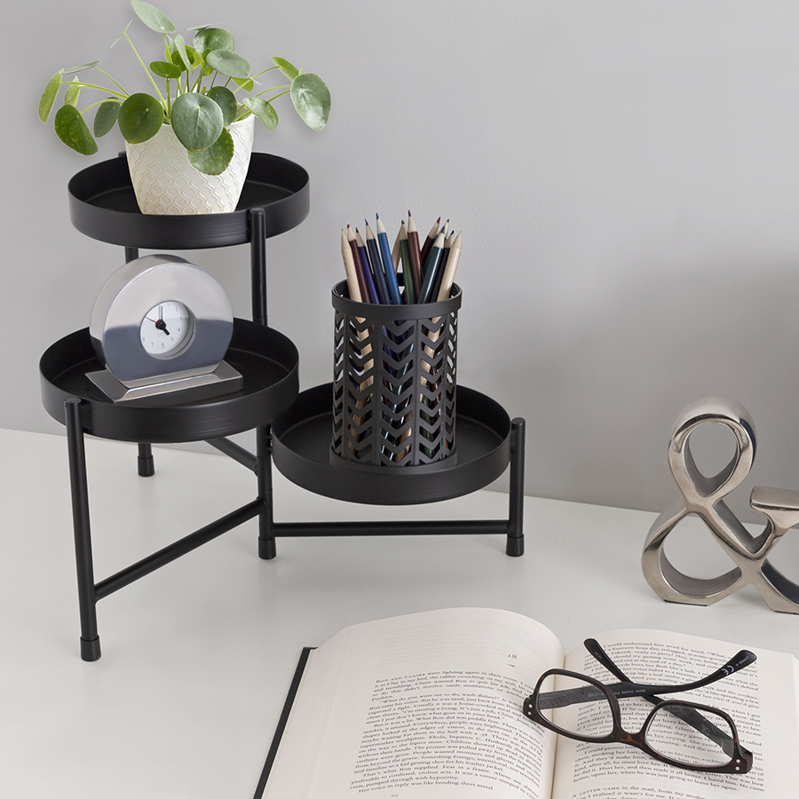Desk with black organizer