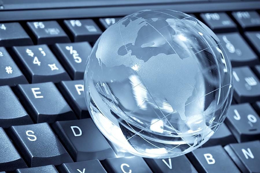 Clear globe on a keyboard