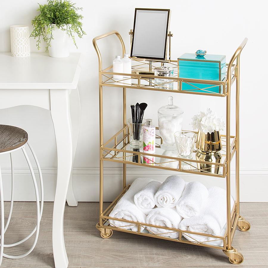 Gold meta toiletry cart