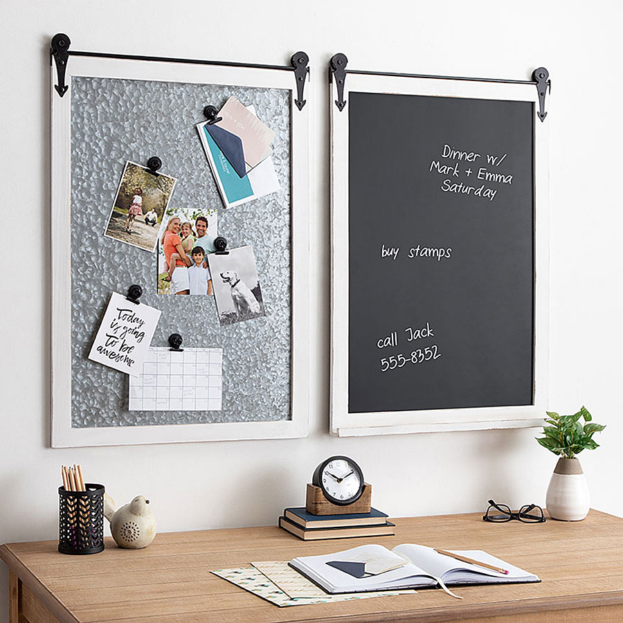 Wall organizers with photos and notes