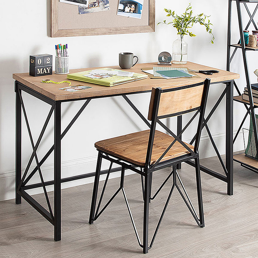 Wood and metal desk chair combo