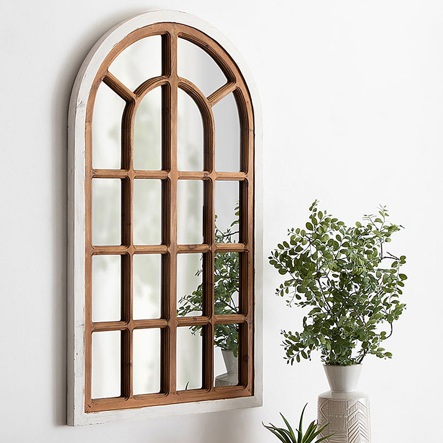 Mirror with wooden framing