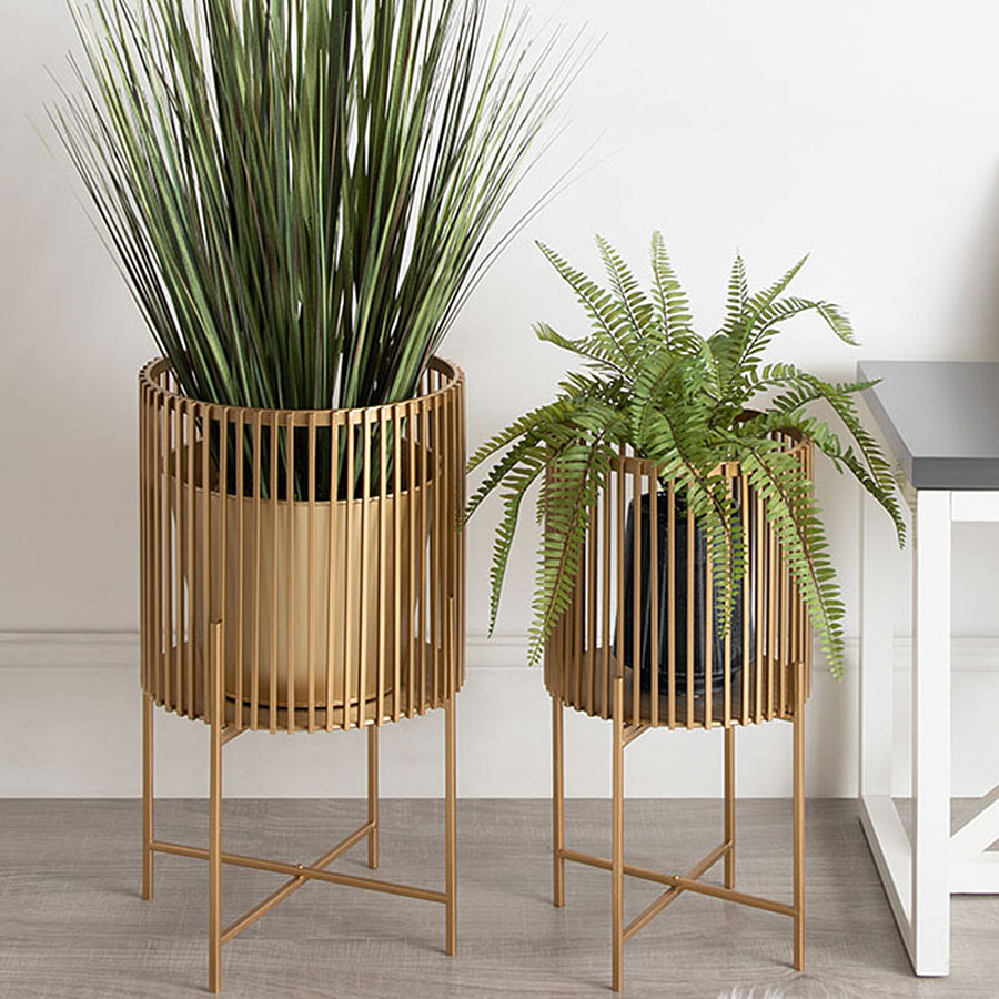 Gold metal plant holders