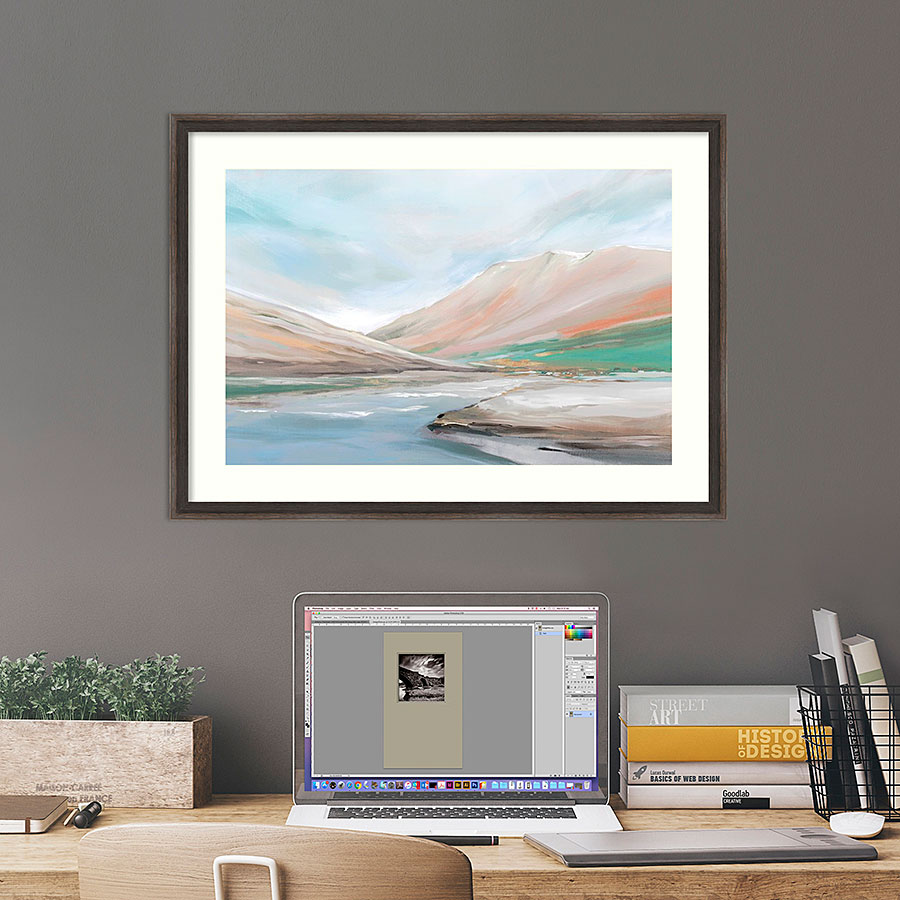 Abstract landscape picture above desk