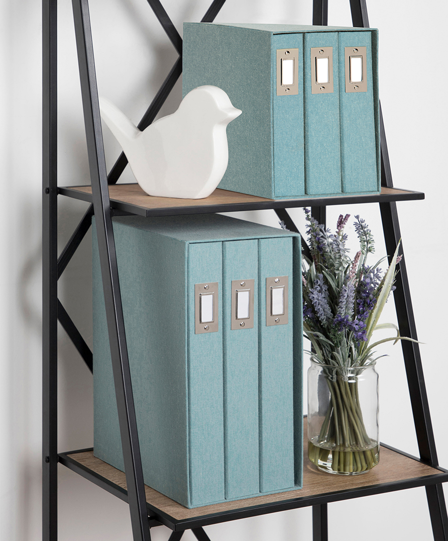 Decorative shelf with binders, plant, and bird sculpture