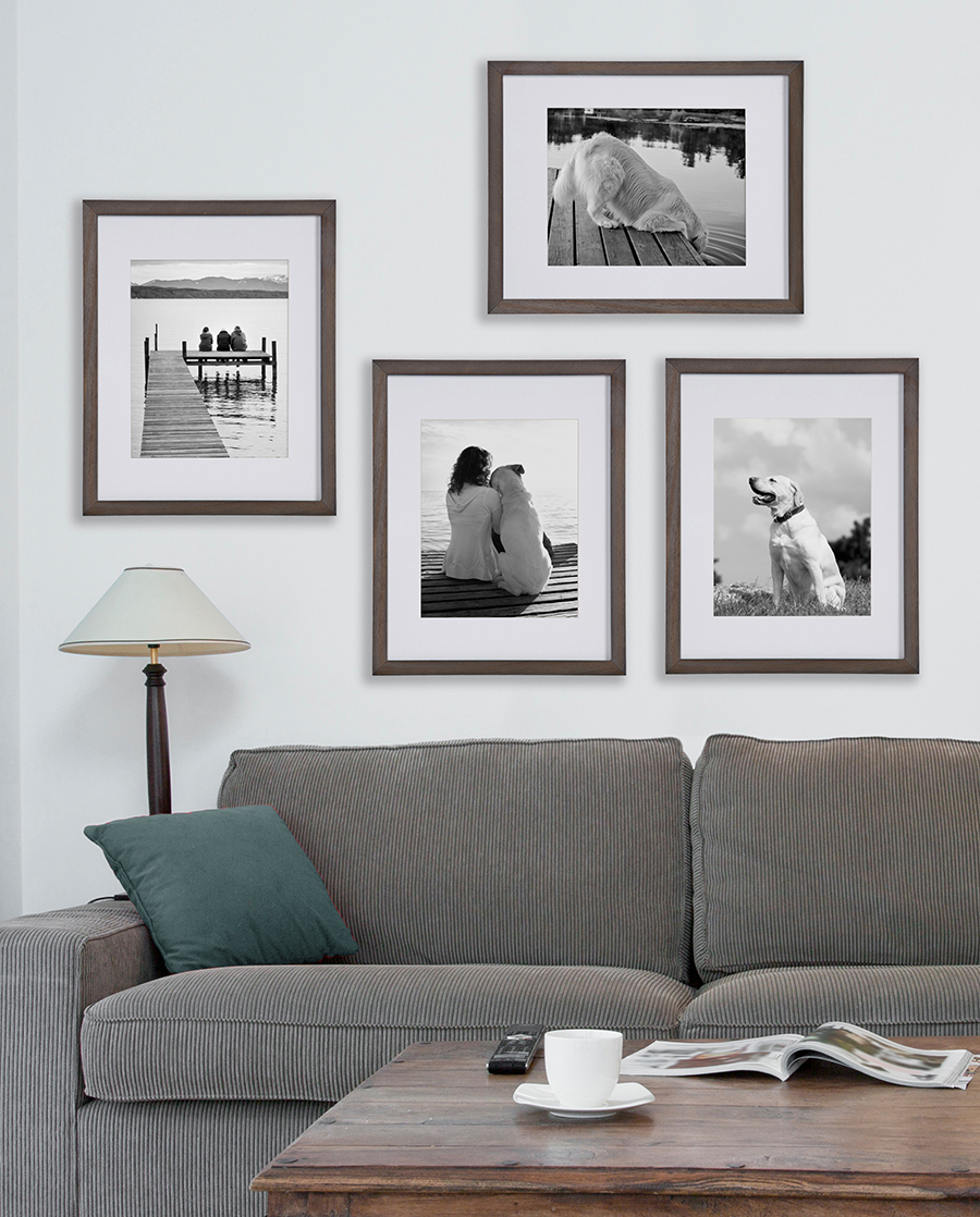 Assortment of photos above gray corduroy couch. Photos feature people and a happy dog.