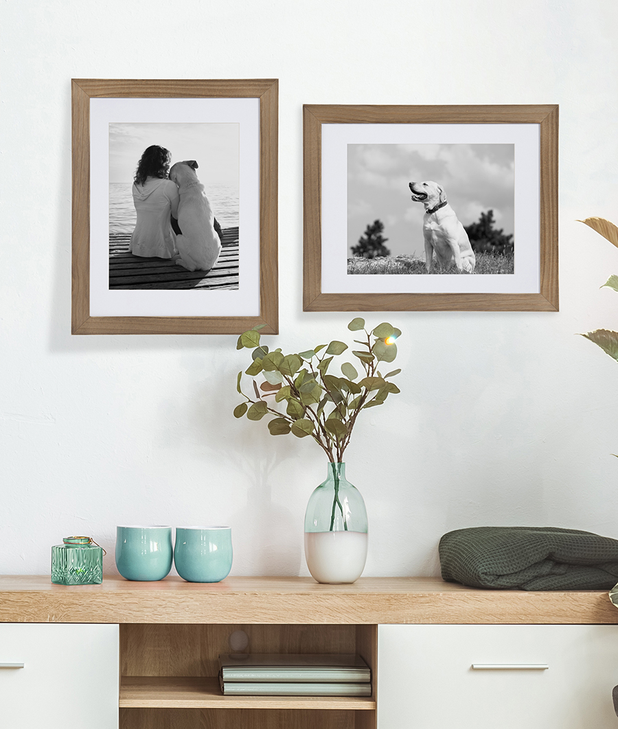 Wood framed pictures of person and dog.